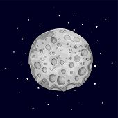 Fun Cartoon Gray Sponge Moon Icon. Silver Magic Full Moon With Decoration Elements On Black Backgrou poster