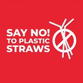 Say No To Plastic Straws Icon, Stop Plastic Pollution On Sea, The Refusal Of Disposable Plastic Drin poster