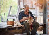 Asia Life Old Man Uncle Grandfather Working In Home Asia Old Man Living In The Countryside Of Life R poster