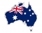 Map And Flag Of Australia, Symbols Of Australia Paper Cut Style Vector Illustration Isolated On Whit poster