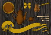 Coffee collection. Cup of coffee, spoon, coffee pot, arabic turk. Coffee concept. Vintage engraving  poster