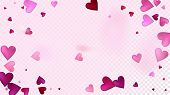 Red, Pink Hearts Vector Confetti. Valentines Day Romantic Pattern. Beautiful Pink Frame Valentines D poster