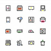 Icons Of Household Appliances, Electrical Appliances, Colored With Different Bright Colors, Flat, Pe poster