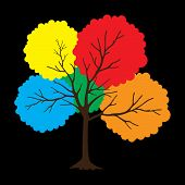 Tree With Full Color Leaves On Black Background. Vector Tree Icon. Tree Forest, Leaf Tree Isolated,  poster