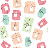 Seamless Pattern With Colorful Gift Boxes.beautiful Present Box For Birthday. Christmas Gift Box.col poster