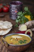 Indian Mulligatawny Soup In A Brass Bowl poster
