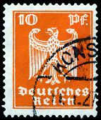 Vintage  Postage Stamp. German Eagle. 10 Pf.