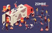 Isometric Zombie Apocalypse Horizontal Background Composition With Human Character On Truck Fighting poster