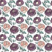 Roses Flower Seamless Pattern. Hand Drawn Background With Flowers And Leaves On White. Vector Botany poster