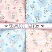 Little Princess - Kitty Seamless Pattern. Hand Draw poster