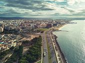 Aerial Panorama Palma De Mallorca Cityscape. Urban Scene With Roads Along Palm Tree Lined Seafront T poster