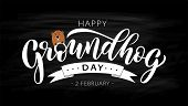 Happy Groundhog Day. Hand Drawn Lettering Text With Cute Groundhog. 2 February. Vector Illustration. poster