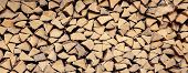 Wall Firewood, Background Of Dry Chopped Firewood Logs In A Pile - Image poster