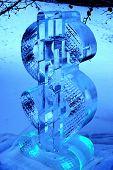 ice sculpture of dollar