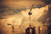 Construction Site With Two Cranes
