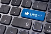 stock photo of keyboard  - A like message on enter keyboard for social media concepts - JPG