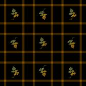 Seamless Plaid Autumn Leaves
