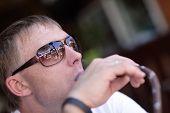 Man Smoking Shisha