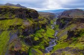 Thorsmork Mountains Canyon And River, Near Skogar, Iceland