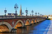 pic of bordeaux  - Bordeaux river bridge with St Michel cathedral France - JPG