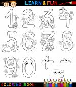 Numbers With Cartoon Animals For Coloring