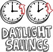 picture of time-saving  - Doodle style illustration of Daylight Savings Time - JPG