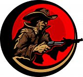 stock photo of wrangler  - Graphic Mascot Image of a Cowboy Shooting Pistols - JPG