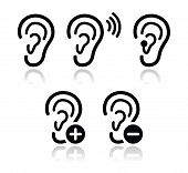 image of sensory perception  - Hearing problem black icons  - JPG