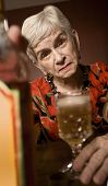 Eldery Alcoholic Woman