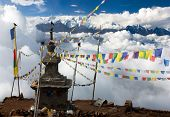 stock photo of nepali  - view from Langtang to Ganesh Himal with stupa and prayer flags  - JPG