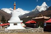Ama Dablam Lhotse and top of Everest from Tengboche