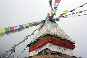 Stupa and buddhist prayer flags in Langtang Himal - Nepal