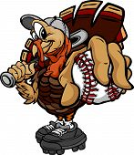 stock photo of fastpitch  - Cartoon Vector Image of a Thanksgiving Holiday Baseball or Softball Turkey Holding a Baseball Ball and a Bat - JPG