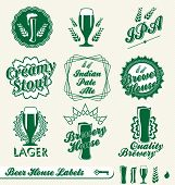 Vector Set: Vintage Beer House Labels and Stickers