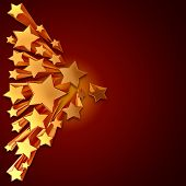 moving golden stars on brown background