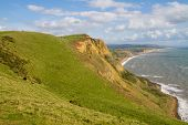 Dorset countryside and coastline towards West Bay and Chesil beach