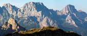 morning view from Karnische Alpen or Alpi Carniche to Alpi Dolomiti - Mount Siera, Creta Forata and
