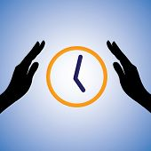 Concept Illustration Of Saving/conserving Time. The Graphic Contains Female Hands Silhouette And Wat