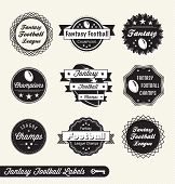 Vector Set: Vintage Fantasy Football Labels and Stickers