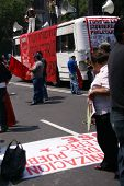 Protesters With Red Flags At Demonstration,