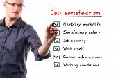 Man Writing Job Satisfaction List On Whiteboard
