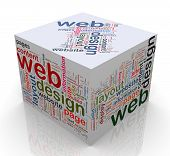 3D cubo com 'web Design' o Tags