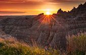 Sunset Over The Badlands Of South Dakota
