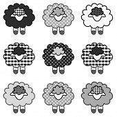 Black Sheep, Patchwork Gingham and Polka Dots, Black and White