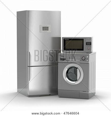 Постер, плакат: Бытовая техника Холодильник Микроволновая печь и стиральная maching 3D, холст на подрамнике