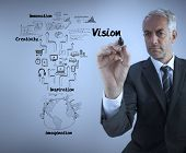 Businessman writing the word vision with a marker against blue background