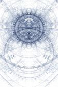 image of magickal  - Asbtract old alchemic symbols theme blue on white - JPG
