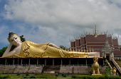 image of recliner  - Big reclining Buddha at temple in thailand - JPG