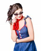 Happy Smiling Young Pinup Girl In Rockabilly Style