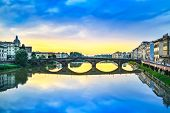 image of medieval  - Florence Ponte alla Carraia medieval Bridge landmark on Arno river sunset landscape with reflection - JPG